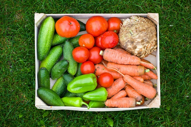 fresh vegetable in wooden box
