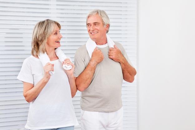 Senior couple in fitness center